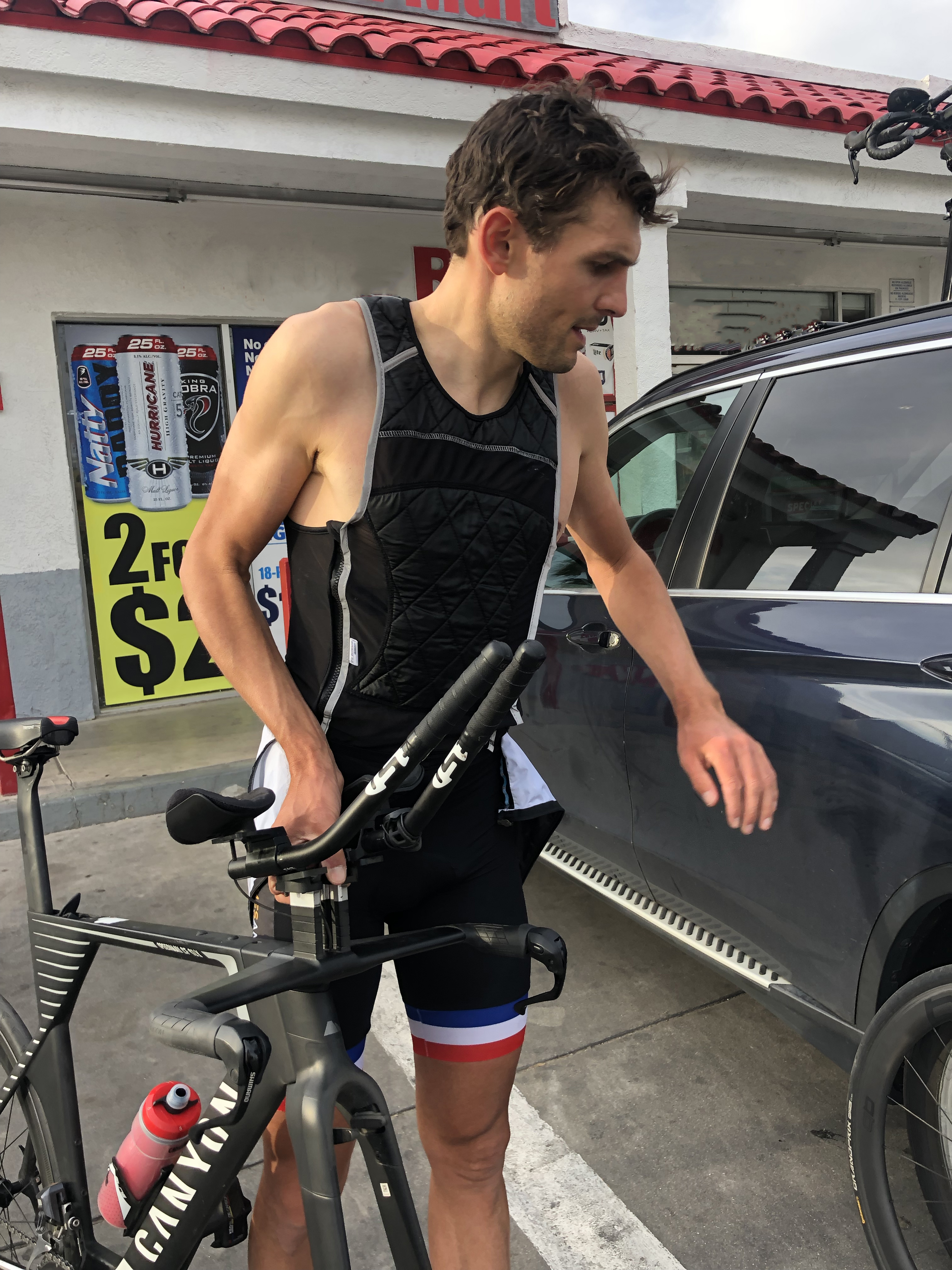 Evens with bike and techniche vest